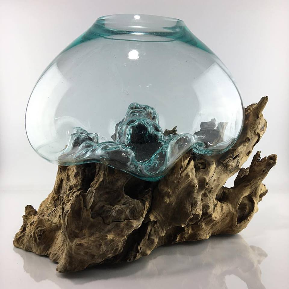 Root Wood & Glass Art Decor. Pot For Aquarium Or Terrarium