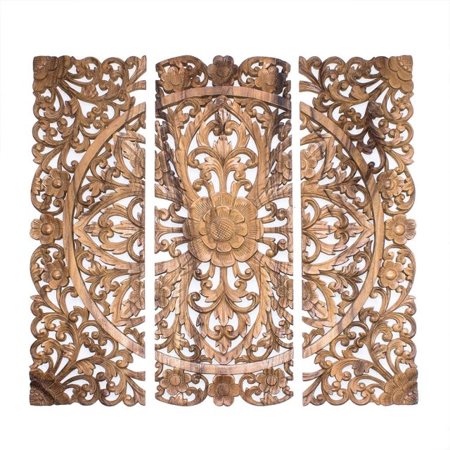 Balinese wooden wall panel decor hand carved