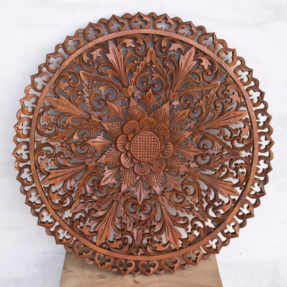 Balinese wooden wall panel decor hand carved for Balinese decoration