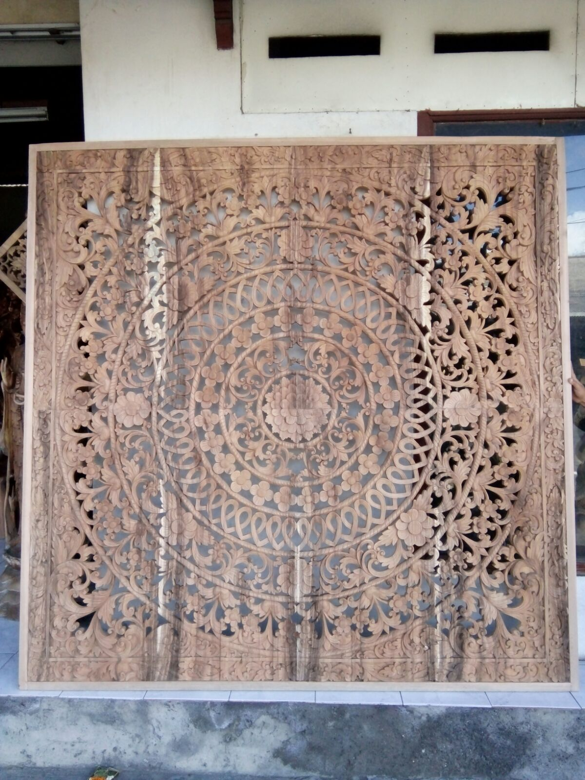 External wooden wall carved decoration of the medieval urnes