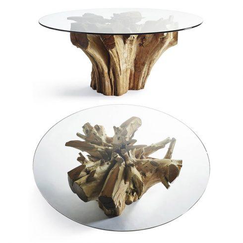 Mesa de raíz de teca