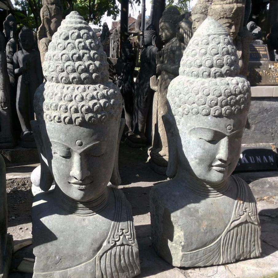 Buddha Head Garden Decor Hand Carved
