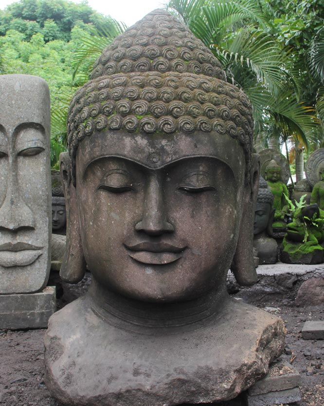 buddha head garden decor hand carved stone bali wholesale products. Black Bedroom Furniture Sets. Home Design Ideas