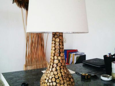 Teak wood tables lamps